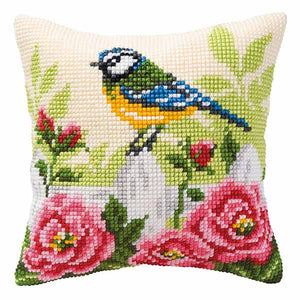 Blue Tit Printed Cross Stitch Cushion Kit by Vervaco