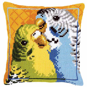 Budgies Printed Cross Stitch Cushion Kit by Vervaco