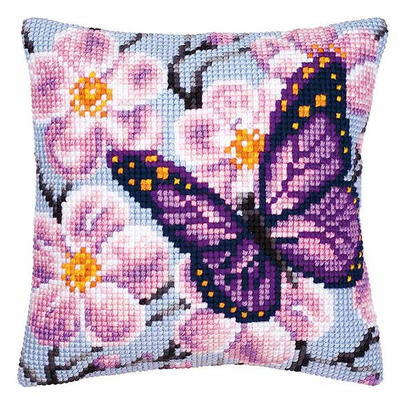 Purple Butterfly Printed Cross Stitch Cushion Kit by Vervaco