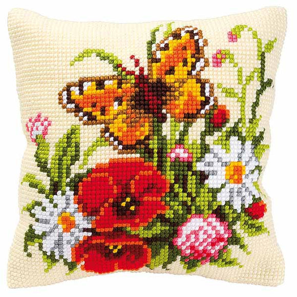 Butterfly and Flowers Printed Cross Stitch Cushion Kit by Vervaco