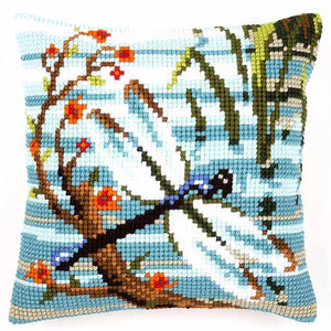 Dragonfly Printed Cross Stitch Cushion Kit by Vervaco