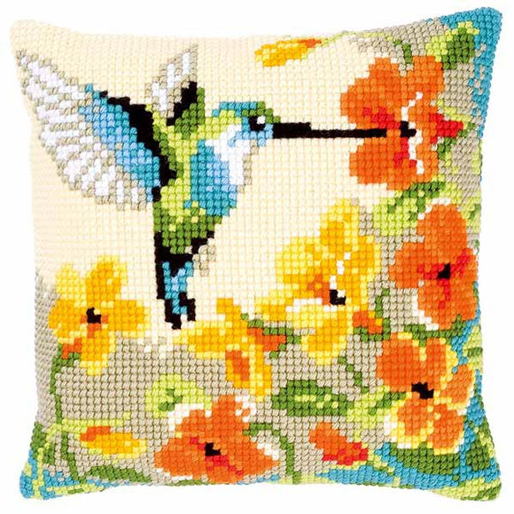 Hummingbird Printed Cross Stitch Cushion Kit by Vervaco
