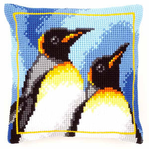 King Penguins Printed Cross Stitch Cushion Kit by Vervaco