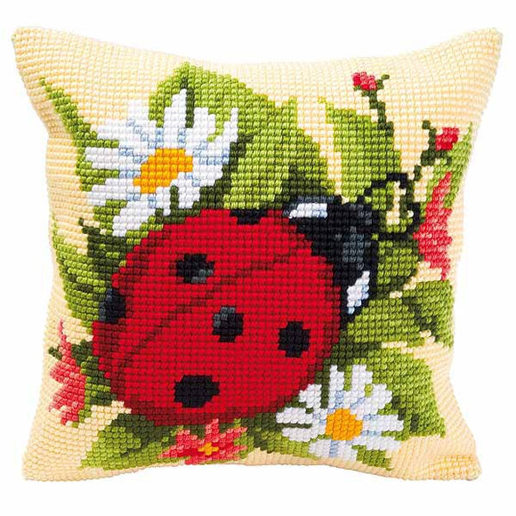 Ladybird Printed Cross Stitch Cushion Kit by Vervaco