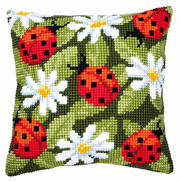 Ladybirds Printed Cross Stitch Cushion Kit by Vervaco