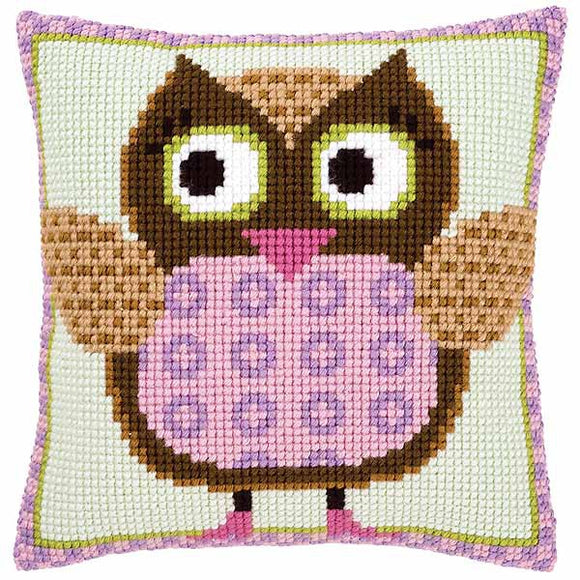 Miss Owl Printed Cross Stitch Cushion Kit by Vervaco