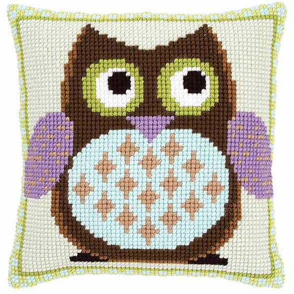 Mister Owl Printed Cross Stitch Cushion Kit by Vervaco