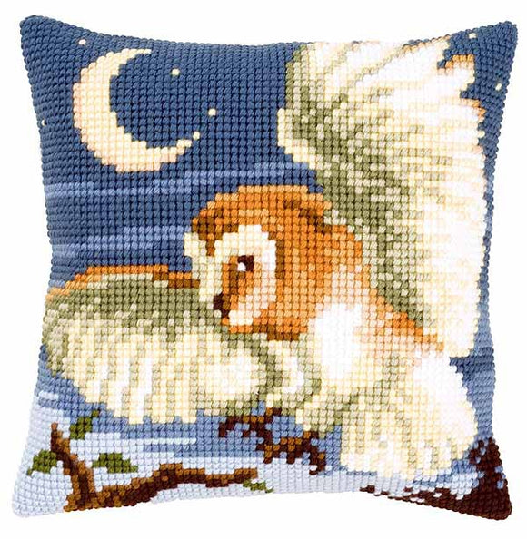 Night Owl Printed Cross Stitch Cushion Kit by Vervaco