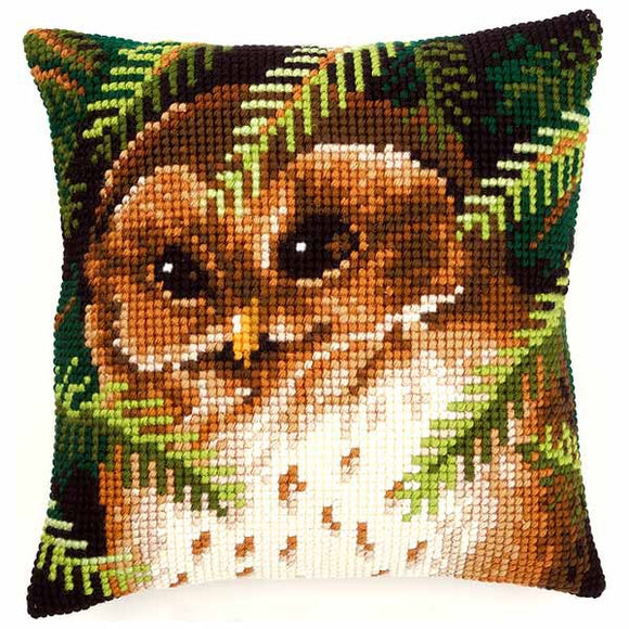 Owl Printed Cross Stitch Cushion Kit by Vervaco