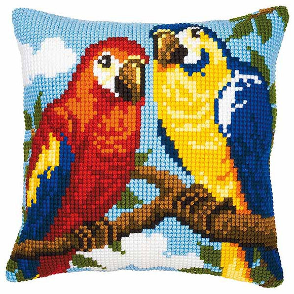 Parrots Printed Cross Stitch Cushion Kit by Vervaco