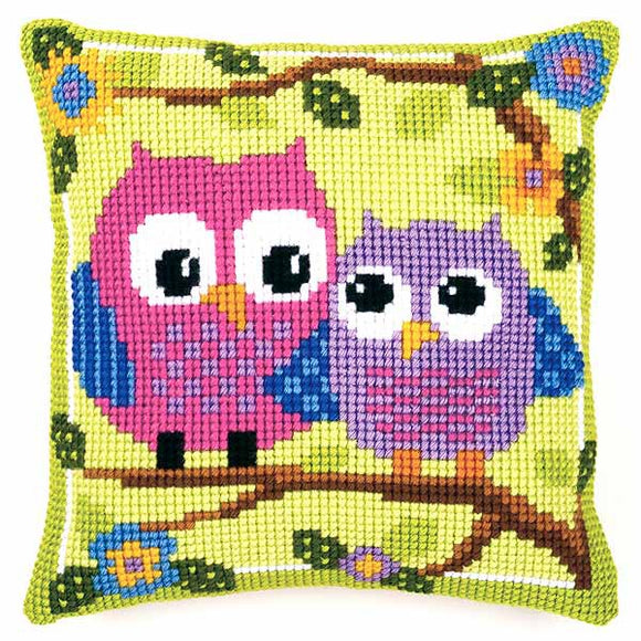 Owls Printed Cross Stitch Cushion Kit by Vervaco