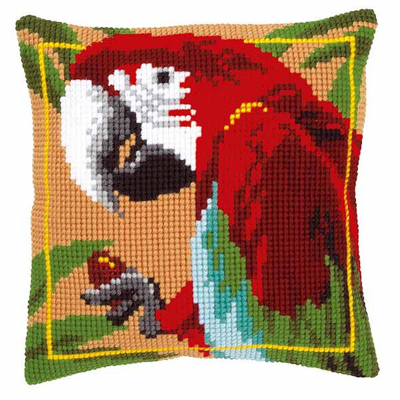 Red Macaw Printed Cross Stitch Cushion Kit by Vervaco