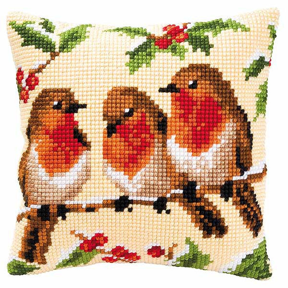 Robins Printed Cross Stitch Cushion Kit by Vervaco