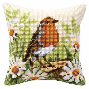 Robin Printed Cross Stitch Cushion Kit by Vervaco