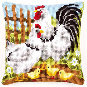 Rooster Family Printed Cross Stitch Cushion Kit by Vervaco