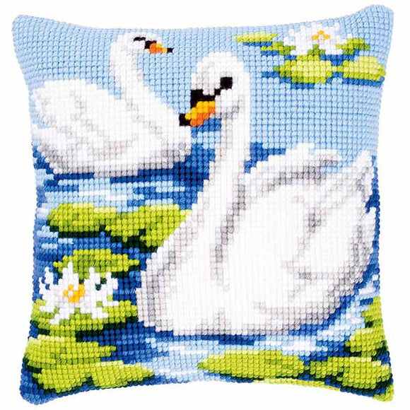 Swan Printed Cross Stitch Cushion Kit by Vervaco
