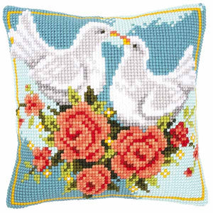 White Doves Printed Cross Stitch Cushion Kit by Vervaco