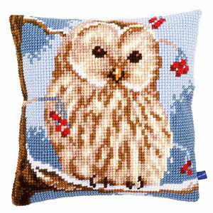 Winter Owl Printed Cross Stitch Cushion Kit by Vervaco