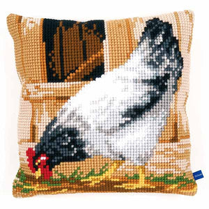 Grey Hen Printed Cross Stitch Cushion Kit by Vervaco