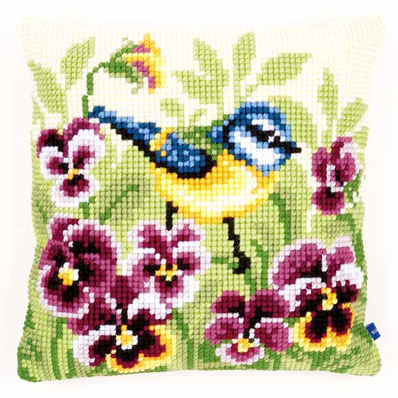 Blue Tit on Pansies Printed Cross Stitch Cushion Kit by Vervaco