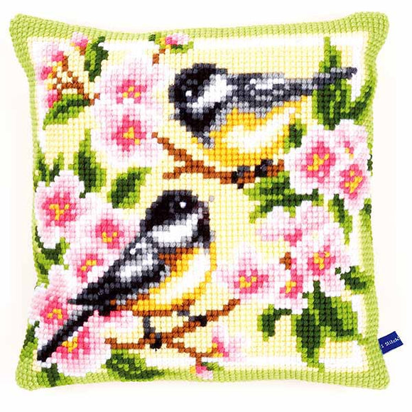 Birds and Blossoms Printed Cross Stitch Cushion Kit by Vervaco