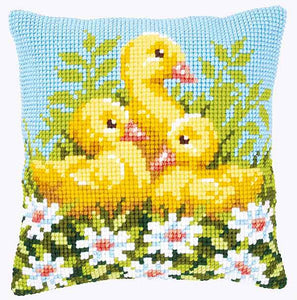 Ducklings with Daisies Printed Cross Stitch Cushion Kit by Vervaco