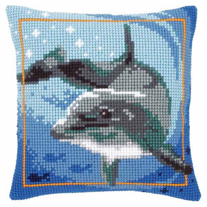 Dolphin Printed Cross Stitch Cushion Kit by Vervaco