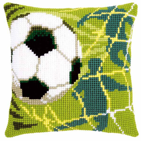 Football Printed Cross Stitch Cushion Kit by Vervaco