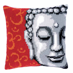 Buddah Printed Cross Stitch Cushion Kit by Vervaco