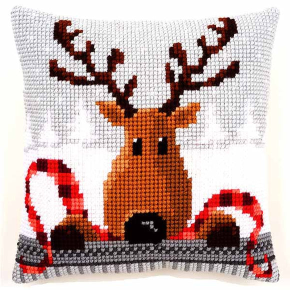 Reindeer with Red Scarf Printed Cross Stitch Cushion Kit by Vervaco