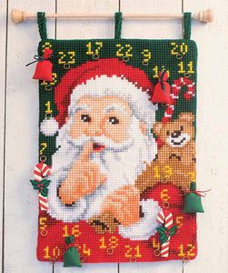 Santa Advent Calendar Printed Cross Stitch Kit by Vervaco