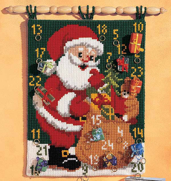 Father Christmas Advent Calendar Printed Cross Stitch Kit by Vervaco