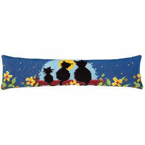 Cat Family Cross Stitch Draught Excluder Cushion Kit By Vervaco