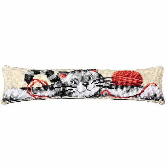 Playful Cat Cross Stitch Draught Excluder Cushion Kit By Vervaco