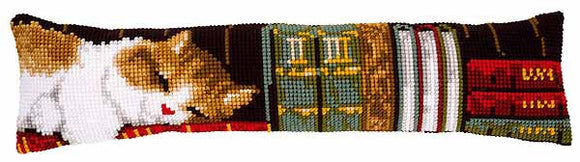 Sleeping Cat Cross Stitch Draught Excluder Cushion Kit By Vervaco