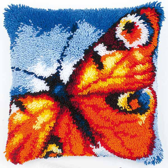 Butterfly Latch Hook Cushion Kit By Vervaco