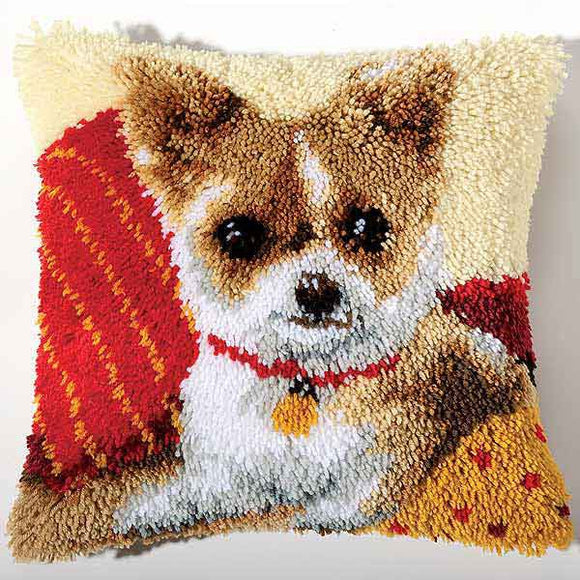Chihuahua Latch Hook Cushion Kit By Vervaco