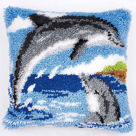 Dolphins Latch Hook Cushion Kit By Vervaco