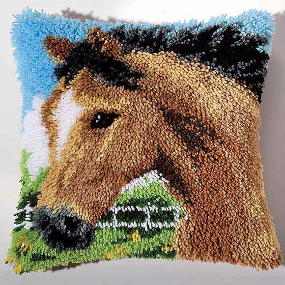 Horse Latch Hook Cushion Kit By Vervaco