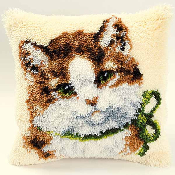 Kitten with Bow Latch Hook Cushion Kit By Vervaco