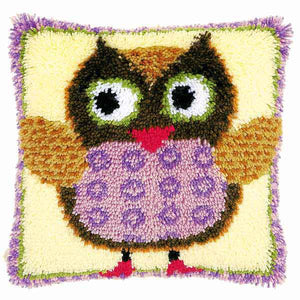 Miss Owl Latch Hook Cushion Kit By Vervaco