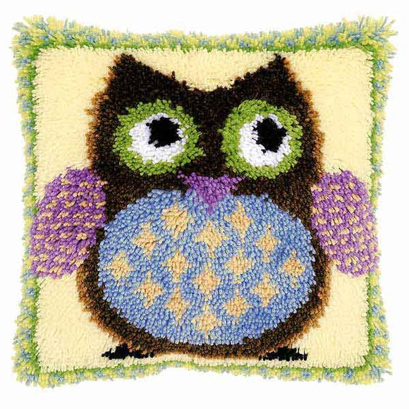 Mr Owl Latch Hook Cushion Kit By Vervaco