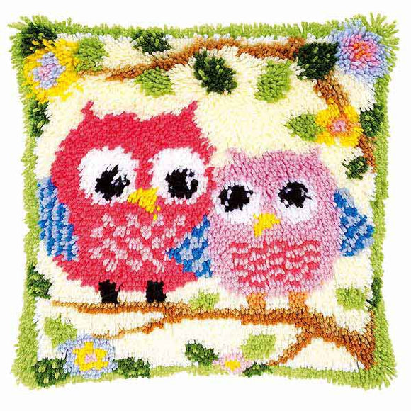 Owls Latch Hook Cushion Kit By Vervaco