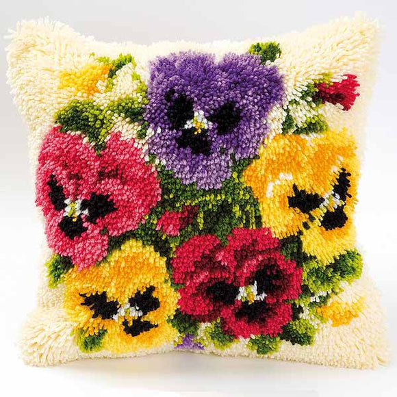 Pansies Latch Hook Cushion Kit By Vervaco