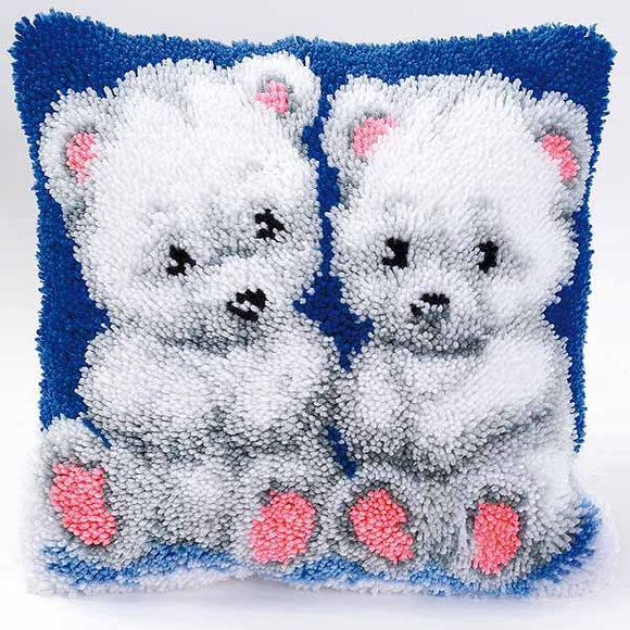 Polar Bear Cubs Latch Hook Cushion Kit By Vervaco