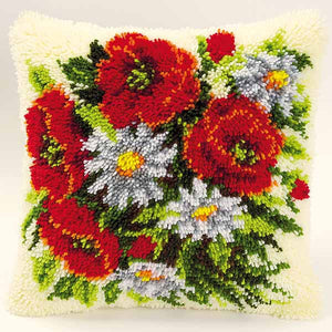 Poppies and Daisies Latch Hook Cushion Kit By Vervaco