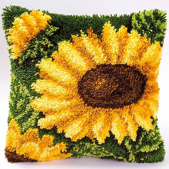 Sunflower Latch Hook Cushion Kit By Vervaco