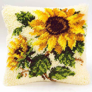 Sunflowers Latch Hook Cushion Kit By Vervaco