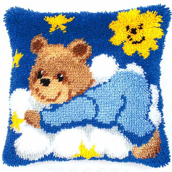 Teddy on a Cloud Latch Hook Cushion Kit By Vervaco