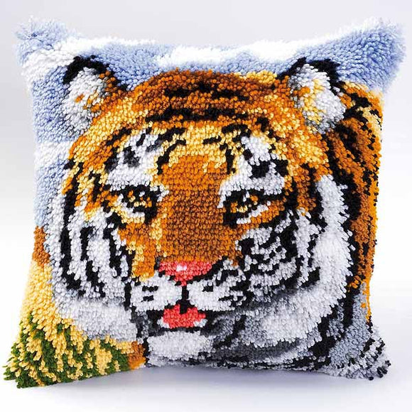 Tiger Latch Hook Cushion Kit By Vervaco